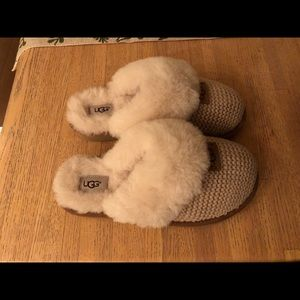 UGG Cozy Knit Genuine Shearling Slippers Sz 7